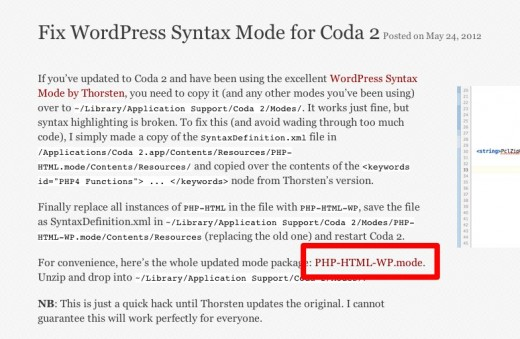 Coda2の為のWordPressコード補足